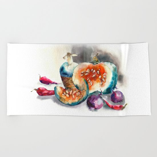 Watercolor harvest with vegetables, Thanksgiving Day Beach Towel