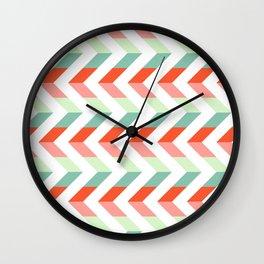 Chevron Raspberry and Peach - Geometric pattern  Wall Clock