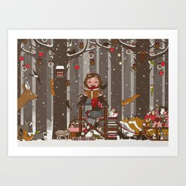 Lily reads for the Forest Animals on Christmas Eve Art Print