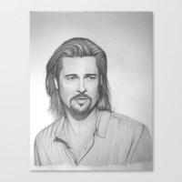 brad pitt Canvas Prints featuring Brad Pitt by eric stavros
