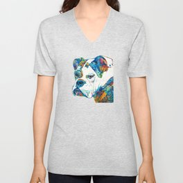 Colorful English Bulldog Art By Sharon Cummings Unisex V-Neck