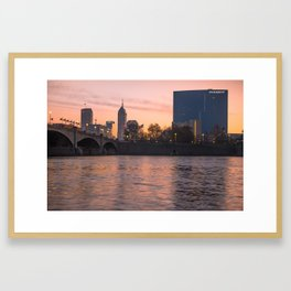 Downtown Indianapolis Skyline Sunrise on the Water Framed Art Print