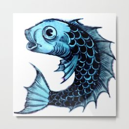 """William De Morgan """"Fantastic Animal - Fish"""" 2. Metal Print"""