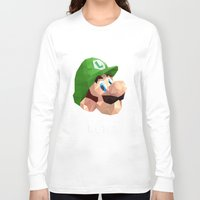 luigi Long Sleeve T-shirts featuring Luigi Poster by Rebekhaart