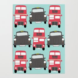 Black cabs and red buses Poster