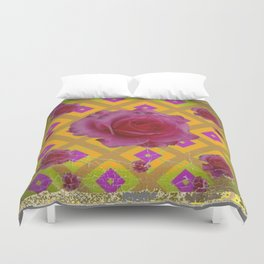 GRUNGY ANTIQUE PINK ROSE PATTERN Duvet Cover