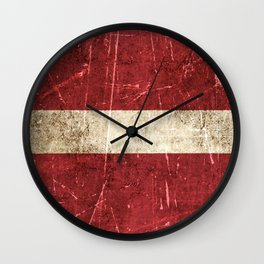 Vintage Aged and Scratched Latvian Flag Wall Clock