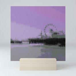 Abstract Purple and Grey Shades Santa Monica Pier Mini Art Print
