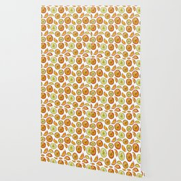 Illustrated Oranges and Limes Wallpaper