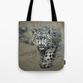 Snow leopard background Tote Bag