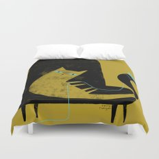 YELLOW CAT BLACK CHAIR Duvet Cover