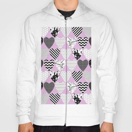 Hearts And Love - Black and white, geometric Pattern Hoody
