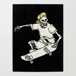 Vintage Skateboarding Skeleton Poster