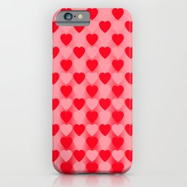 Zigzag of red hearts staggered on a light background. iPhone Case