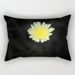 Lemon Yellow Desert Dandelion on Jet Black Coachella Preserve Rectangular Pillow