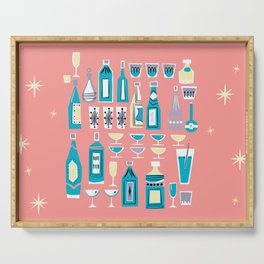 Cocktails And Drinks In Aquas and Pinks Serving Tray