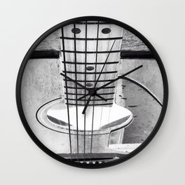 Guitar Strings - Black and White Wall Clock