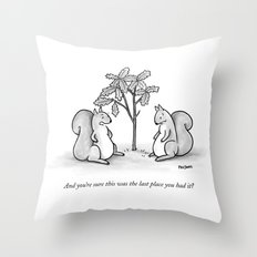 Forgetful Squirrel Throw Pillow