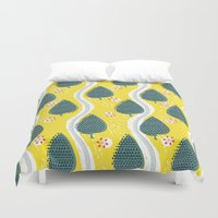 ski Duvet Covers featuring ski between the trees by ottomanbrim