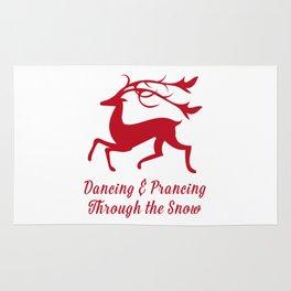 Prancing Christmas Deer Rug