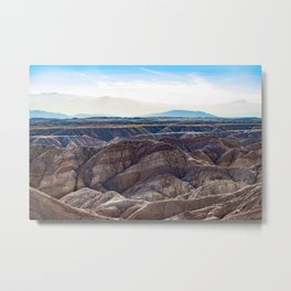 Looking across the Borrego Badlands Canyons towards the Hazy Mountainsin the Anza Borrego Desert Metal Print