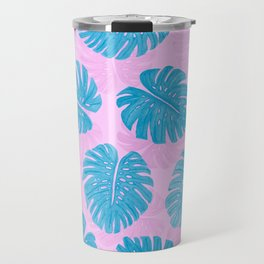 Pink Blue Hand Painted Swiss Cheese Plant Leaves Travel Mug