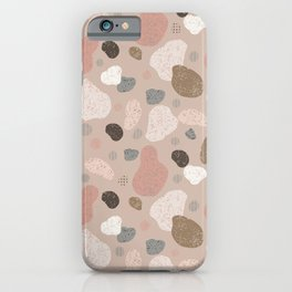 Rosegold Pebbles of Finland Peach Background iPhone Case