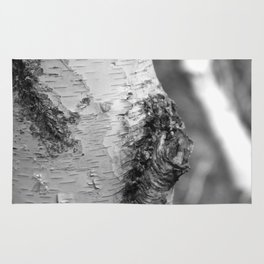 Birch Tree Truck, Black and White Rug