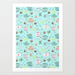 Vintage Pastel Teacups Tea Party Pattern Art Print