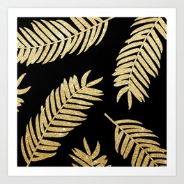 Gold Glitter Palms  |  Black Background Art Print