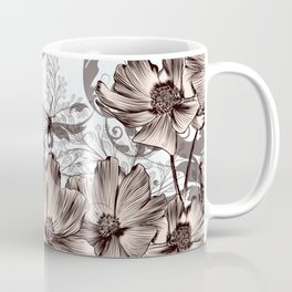 Background with flowers and butterflies Coffee Mug