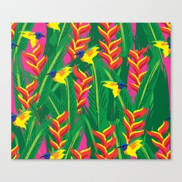 Olive-backed Sunbirds with Heliconia Canvas Print