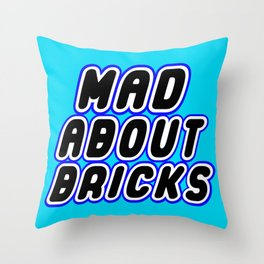 MAD ABOUT BRICKS in Brick Font Logo Design [Alternate Colors] by Chillee Wilson Throw Pillow
