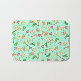 Fun Summer Watercolor Painted Mixed Drinks Pattern Bath Mat
