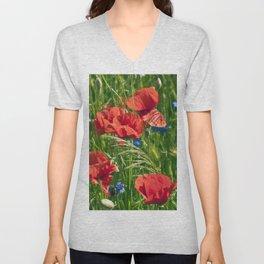 Red Poppy Meadow Unisex V-Neck