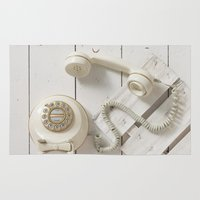 telephone Area & Throw Rugs featuring Old Telephone by visualspectrum