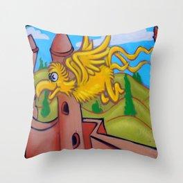 suesslike bird in flight (square) Throw Pillow