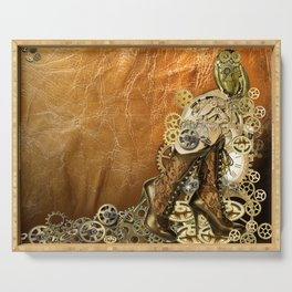 Gothic  - Steampunk sculptures On leather Serving Tray