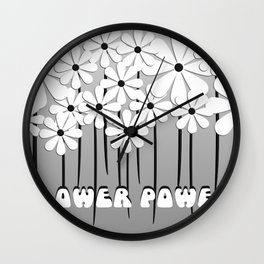 Flower Power in Black and White Wall Clock