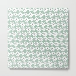 Daisies In The Summer Breeze - Green Grey White Metal Print