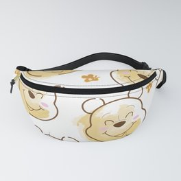 Inspired Pooh Bear surrounded with bees Pattern on White background Fanny Pack