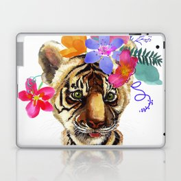 Tiger Cub with Flowers Laptop & iPad Skin