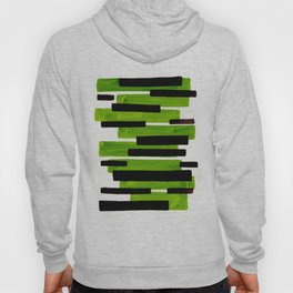 Lime Green Primitive Stripes Mid Century Modern Minimalist Watercolor Gouache Painting Colorful Stri Hoody