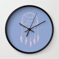 dreamcatcher Wall Clocks featuring Dreamcatcher by Mrs. Ciccoricco