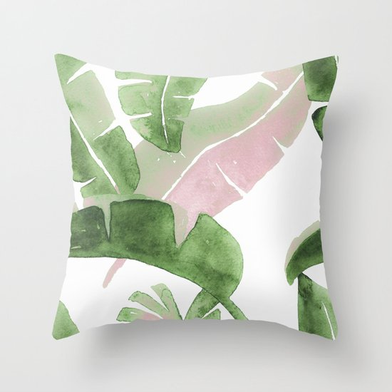 Tropical Leaves Green And Pink by wheimay