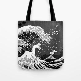 Black and White Psychodelic Kunagawa Surfer Cat Tote Bag
