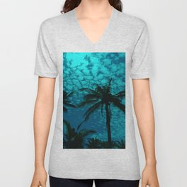 Palm Trees On A Blue Sky Background Unisex V-Neck