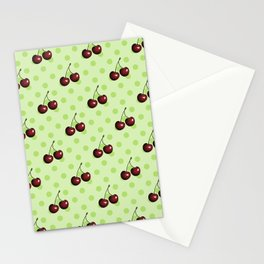 CHERRIES ON MINT GREEN Stationery Cards