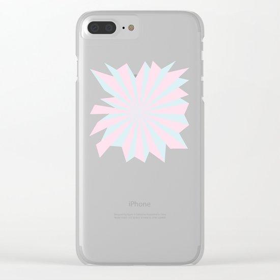 Starbust 60's pastel-Pink Aqua geometric Pattern Clear iPhone Case