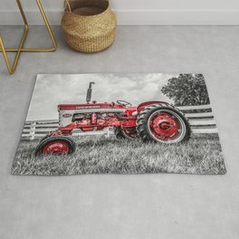IH 240 Side View Selective Red Farmall Tractor Rug